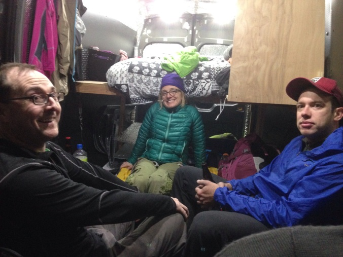 Hanging in the van post climbing.