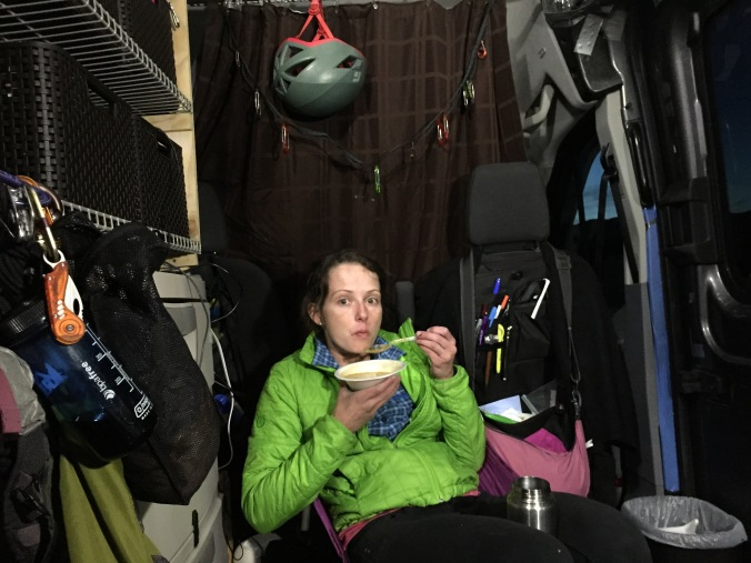 Desiree' enjoying some organic soup from Whole Foods in Boulder, CO. The current version of the van gives us a lot of living/movement space. We pop open some REI chairs and it's like a little livingroom.
